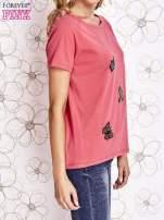 Różowy t-shirt z aplikacją owadów                                                                           zdj.                                                                         3
