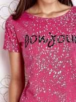 Różowy t-shirt z napisem BONJOUR