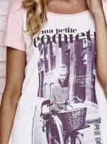 Różowy t-shirt z napisem MA PETITE COQUETTE                                   zdj.                                  5