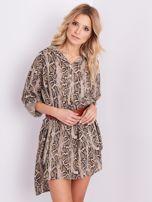 SCANDEZZA Beżowa sukienka animal print                                  zdj.                                  4