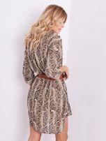 SCANDEZZA Beżowa sukienka animal print                                  zdj.                                  7