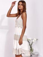 Beżowa sukienka na ramiączkach z koronką                                  zdj.                                  3