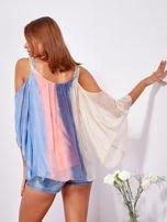 SCANDEZZA Beżowo-niebieska bluzka ombre bez ramion z cekinami                                  zdj.                                  2