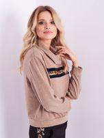SCANDEZZA Beżowy sweter golf z cekinowym zdobieniem                                  zdj.                                  8