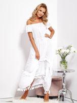 Biała asymetryczna sukienka hiszpanka z frędzlami                                  zdj.                                  1