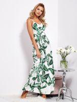 Biało-zielona maxi sukienka w liście z wiązaniem                                  zdj.                                  4