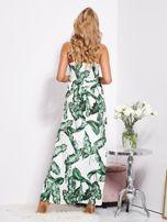 Biało-zielona maxi sukienka w liście z wiązaniem                                  zdj.                                  6