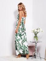 SCANDEZZA Biało-zielona maxi sukienka w liście z wiązaniem                                  zdj.                                  7