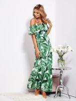 Biało-zielona sukienka hiszpanka maxi w tropikalne liście                                  zdj.                                  10