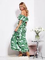 Biało-zielona sukienka hiszpanka maxi w tropikalne liście                                  zdj.                                  6