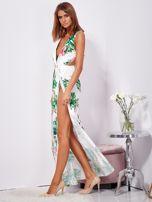 Biało-zielona sukienka maxi floral print z rozcięciem                                  zdj.                                  3