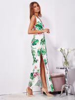 Biało-zielona sukienka maxi floral print z rozcięciem                                  zdj.                                  7