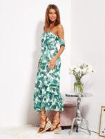 Biało-zielona sukienka maxi off shoulder w liście                                  zdj.                                  3