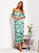 Biało-zielona sukienka maxi off shoulder w liście                                  zdj.                                  8