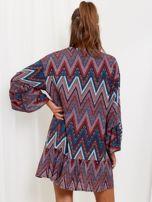SCANDEZZA Bordowo-turkusowa sukienka w geometryczny nadruk                                  zdj.                                  2