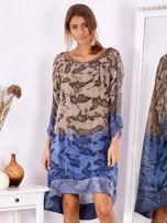 Brązowo-niebieska sukienka ombre z jedwabiem                                  zdj.                                  1
