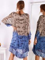 SCANDEZZA Brązowo-niebieska sukienka ombre z jedwabiem                                  zdj.                                  2