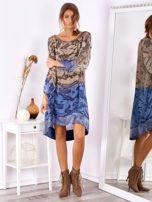 SCANDEZZA Brązowo-niebieska sukienka ombre z jedwabiem                                  zdj.                                  4