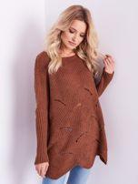 SCANDEZZA Brązowy luźny sweter z ażurowaniem                                  zdj.                                  4