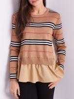 SCANDEZZA Brązowy sweter z koszulą                                  zdj.                                  2