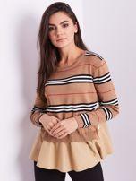 SCANDEZZA Brązowy sweter z koszulą                                  zdj.                                  4