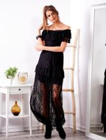 SCANDEZZA Czarna długa koronkowa sukienka                                  zdj.                                  1