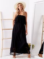 Czarna sukienka maxi z dekoltem carmen                                  zdj.                                  1
