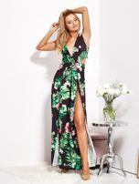 SCANDEZZA Czarna sukienka w kwiaty z rozcięciem i wiązaniem                                  zdj.                                  12