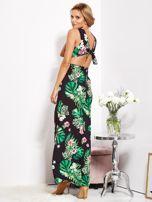 Czarna sukienka w kwiaty z rozcięciem i wiązaniem                                  zdj.                                  7