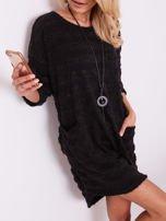 SCANDEZZA Czarna sukienka w paski                                  zdj.                                  1