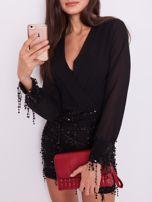 SCANDEZZA Czarna sukienka z cekinami                                  zdj.                                  1
