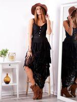 SCANDEZZA Czarna sukienka z falbanami                                  zdj.                                  4
