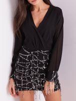 Czarna sukienka ze srebrnymi cekinami                                  zdj.                                  2