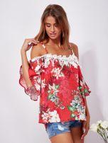 SCANDEZZA Czerwona lniana bluzka cold shoulder w kwiaty                                  zdj.                                  6