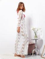 Ecru maxi sukienka plażowa z głębokim dekoltem                                  zdj.                                  3
