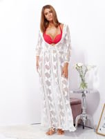Ecru maxi sukienka plażowa z głębokim dekoltem                                  zdj.                                  7