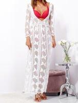 Ecru maxi sukienka plażowa z głębokim dekoltem                                  zdj.                                  8
