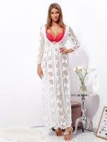 Ecru maxi sukienka plażowa z głębokim dekoltem                                  zdj.                                  4