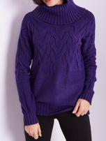SCANDEZZA Fioletowy sweter golf w warkocze                                  zdj.                                  2