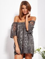 Grafitowa sukienka hiszpanka mini ze wzorem paisley                                  zdj.                                  2
