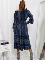 Granatowa sukienka maxi hiszpanka ze wzorem                                  zdj.                                  2