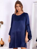 Granatowa sukienka z hiszpańskimi rękawami                                  zdj.                                  4