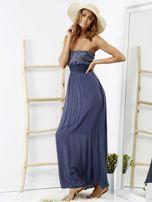 Niebieska sukienka maxi z cekinową górą                                  zdj.                                  3
