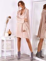 Pudroworóżowa luźna sukienka z jedwabiem                                  zdj.                                  1