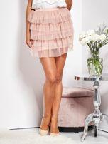 Pudroworóżowa mini spódnica z tiulem i falbanami                                  zdj.                                  5