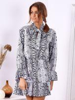 Szara wężowa sukienka z wiązanym chokerem                                  zdj.                                  4