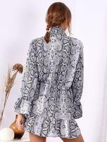 Szara wężowa sukienka z wiązanym chokerem                                  zdj.                                  2