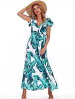 SCANDEZZA Zielona długa sukienka z nadrukiem liści                                  zdj.                                  1