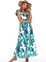SCANDEZZA Zielona długa sukienka z nadrukiem liści                                  zdj.                                  4