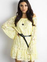Żółta sukienka z hiszpańskim dekoltem                                  zdj.                                  5